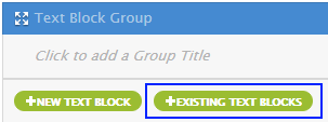 Existing Text Block button