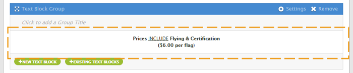 Flying Fee Pricing Text Block