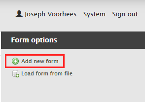 Add New Form Link